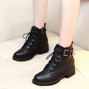 X-24381# 秋冬新款英伦风马丁靴平底学生内增高短靴法式百搭骑士靴 鞋子批发女鞋批发