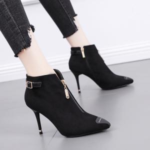 X-24382# 欧洲站短靴高跟鞋子女冬细跟新款尖头马丁靴英伦风百搭时装靴 鞋子批发女鞋批发