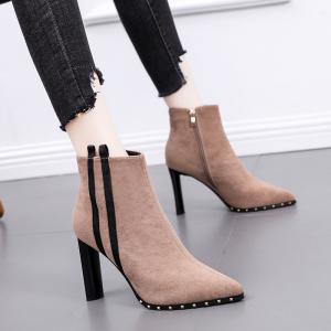 X-24383# 高跟鞋女粗跟新款百搭裸靴秋冬款英伦短靴冬季拼色马丁靴 鞋子批发女鞋批发