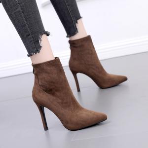 X-24385# 秋冬新款细跟尖头马丁靴高跟绒面短靴加绒女靴 鞋子批发女鞋批发