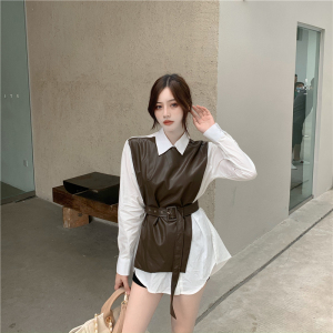 FS91217#  韩国早秋新款复古拼接假两件收腰显瘦设计感衬衫 服装批发女装直播货源
