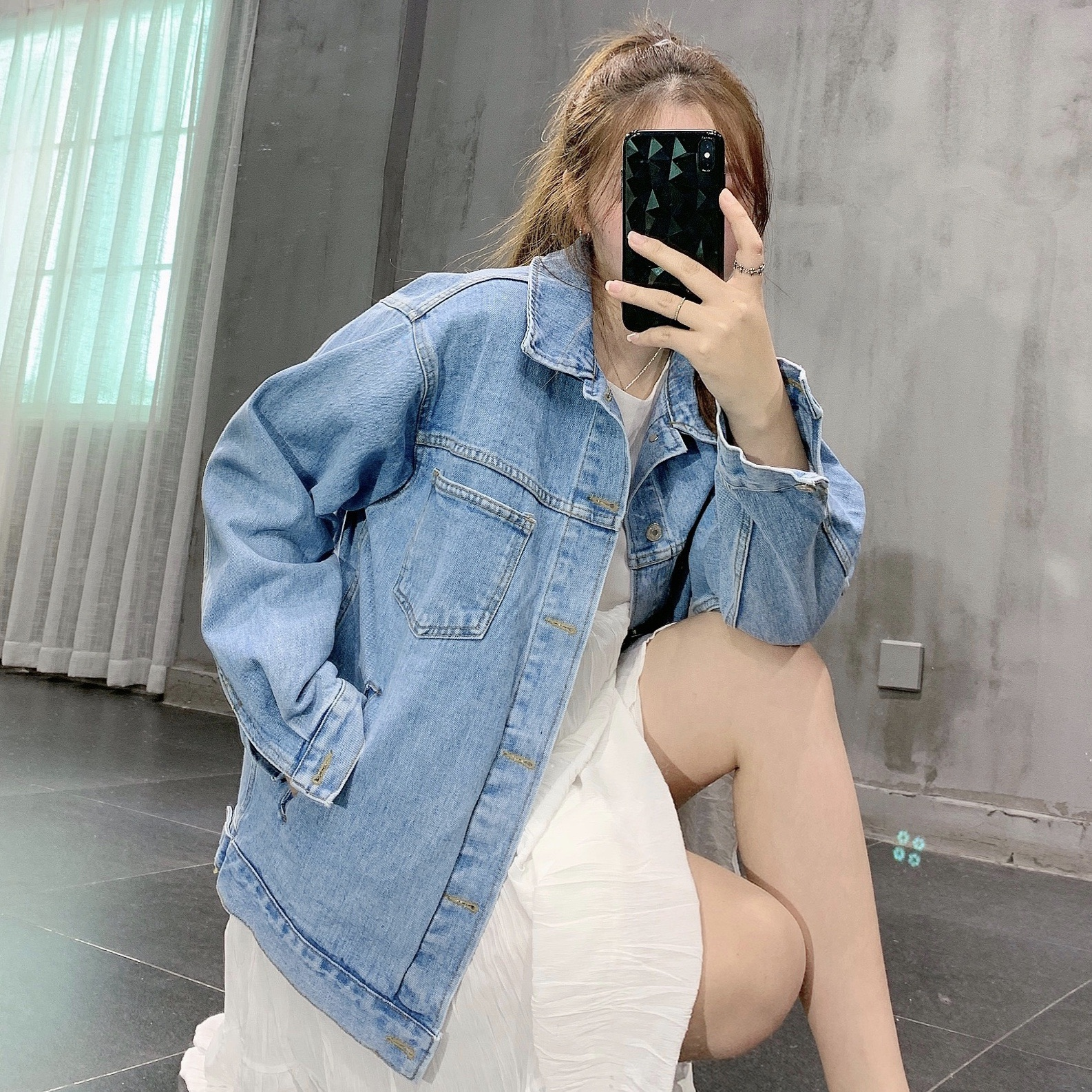 韩国代购东大门2020春新款女装宽松中长款bf男友风复古牛仔外套-牛仔世家-