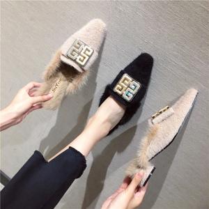 X-24654# 冬季新款韩版毛毛鞋时尚百搭小粗跟毛拖貂毛鞋口兔毛垫脚