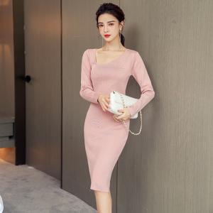 FS91697# 秋季新款韩版气质显瘦包臀针织连衣裙 服装批发女装直播货源