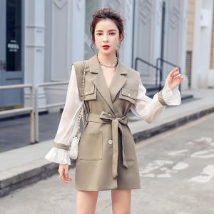FS91689# 新款女装拼接亮丝中长款系带西装领外套 服装批发女装直播货源