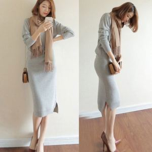 YF13145# 韩版秋冬新款毛衣两件套包臀连衣裙女欧美羊毛衫针织长裙套装chic