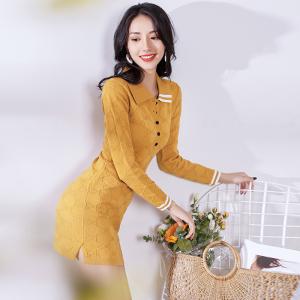FS94410# 秋季韩版新款时尚女装气质翻领修身显瘦针织连衣裙女 服装批发女装直播货源