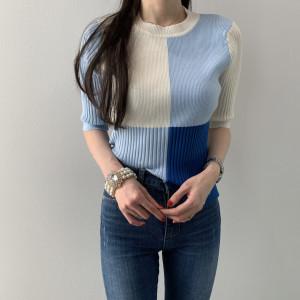 FS95585# 韩网图韩国爆款拼色针织加厚短袖上衣 服装批发女装直播货源