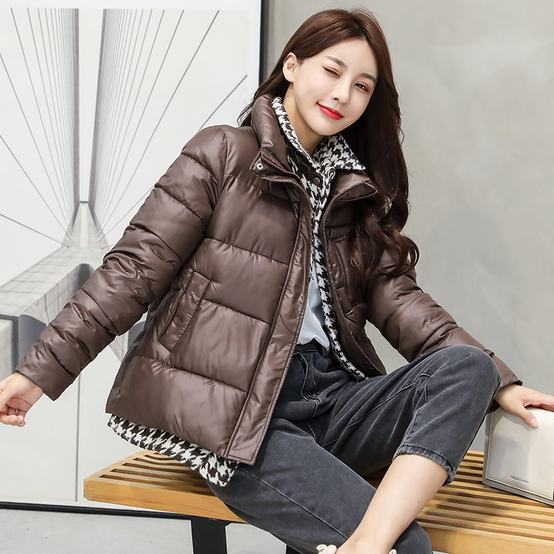 实拍2020新款羽绒服女短款时尚休闲拼接格子加厚宽松棉衣外套-千姿秀羽绒服-