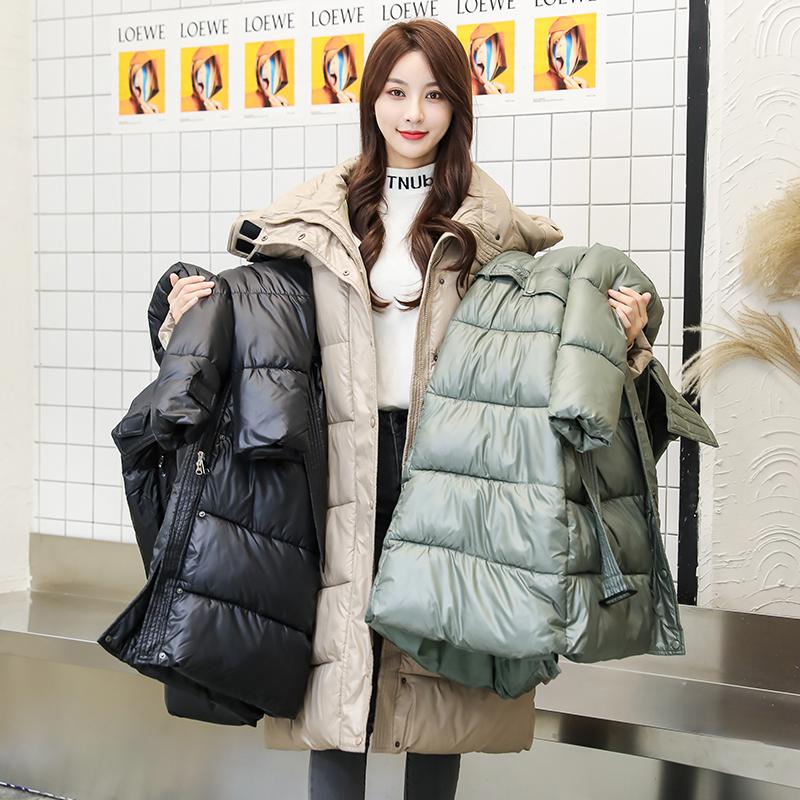 拍2020新款韩版羽绒服女中长款时尚系带收腰加厚连帽棉衣-千姿秀羽绒服-