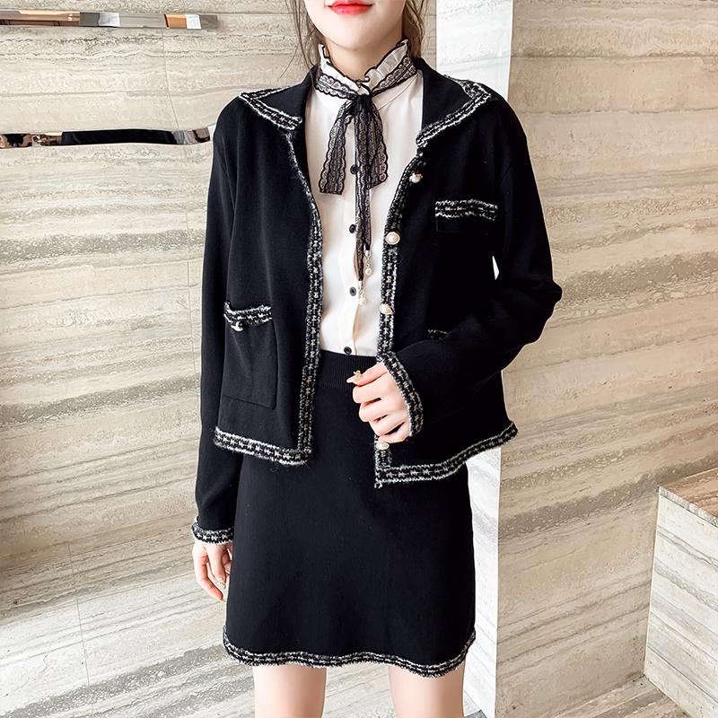 实拍可盐可甜小香风炸街套装两件套名媛气质裙子洋气秋装2020新款-唯美嘉服饰-