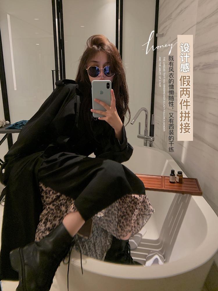 林珊珊2020春秋季轻熟御姐风复古风衣女垂感上衣叠穿假两件外套-乐多多-