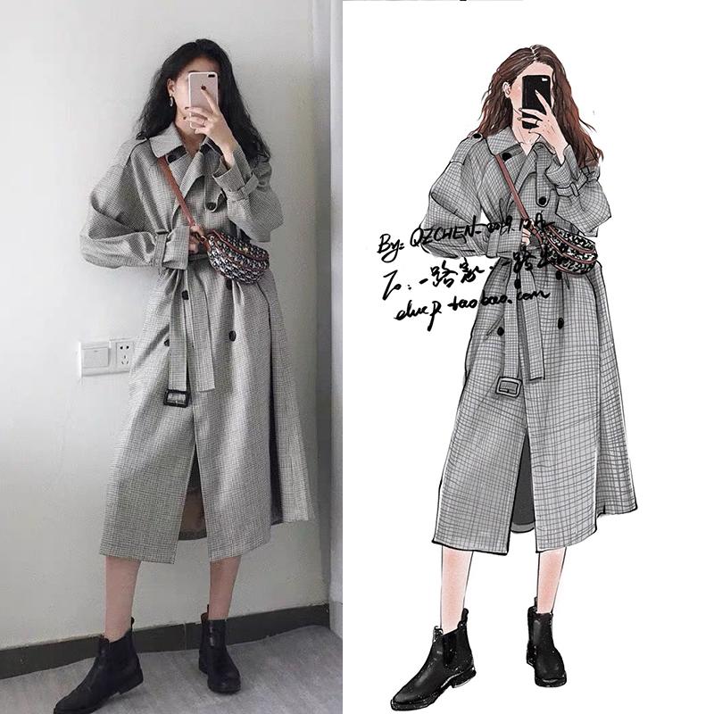 2020明星韩国街拍同款格子风衣大衣中长款过膝英伦风气质女装外套-欧菲迪-