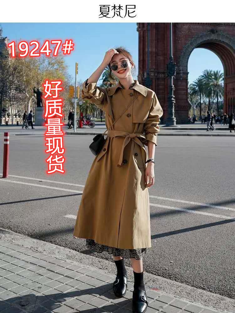 卡其色风衣女中长款2020年新款气质小个子韩版宽松大衣外套春秋季-悦旺服饰-
