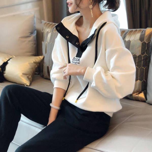 欧货小衫洋气欧洲站2020早秋新款宽松卫衣连帽休闲时尚运动套装女-优朵拉服饰-