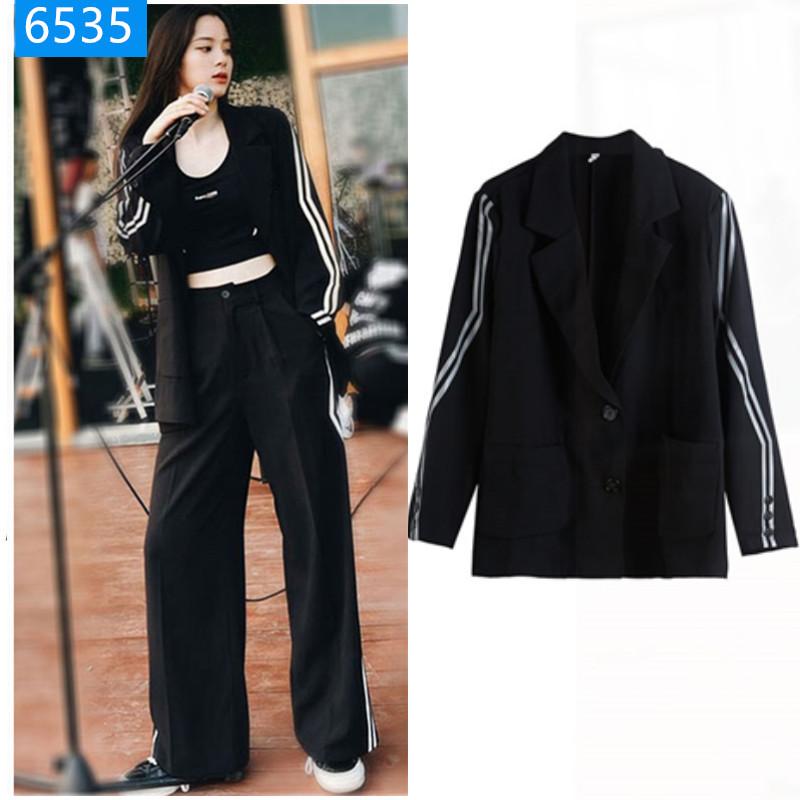 欧阳娜娜同款衣服韩版条纹休闲小西装外套女气质黑色阔腿裤两件套-一佳网络服饰-