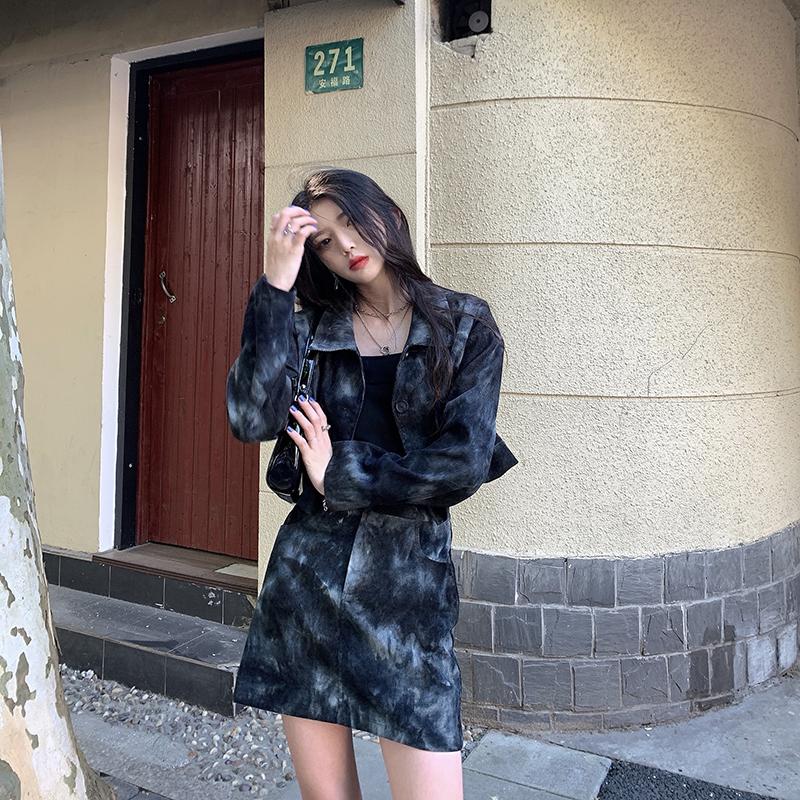 JOEYJOY 8/25 10:00AM999不是真实售价/暗黑灰外套短裙套装-别致依语-