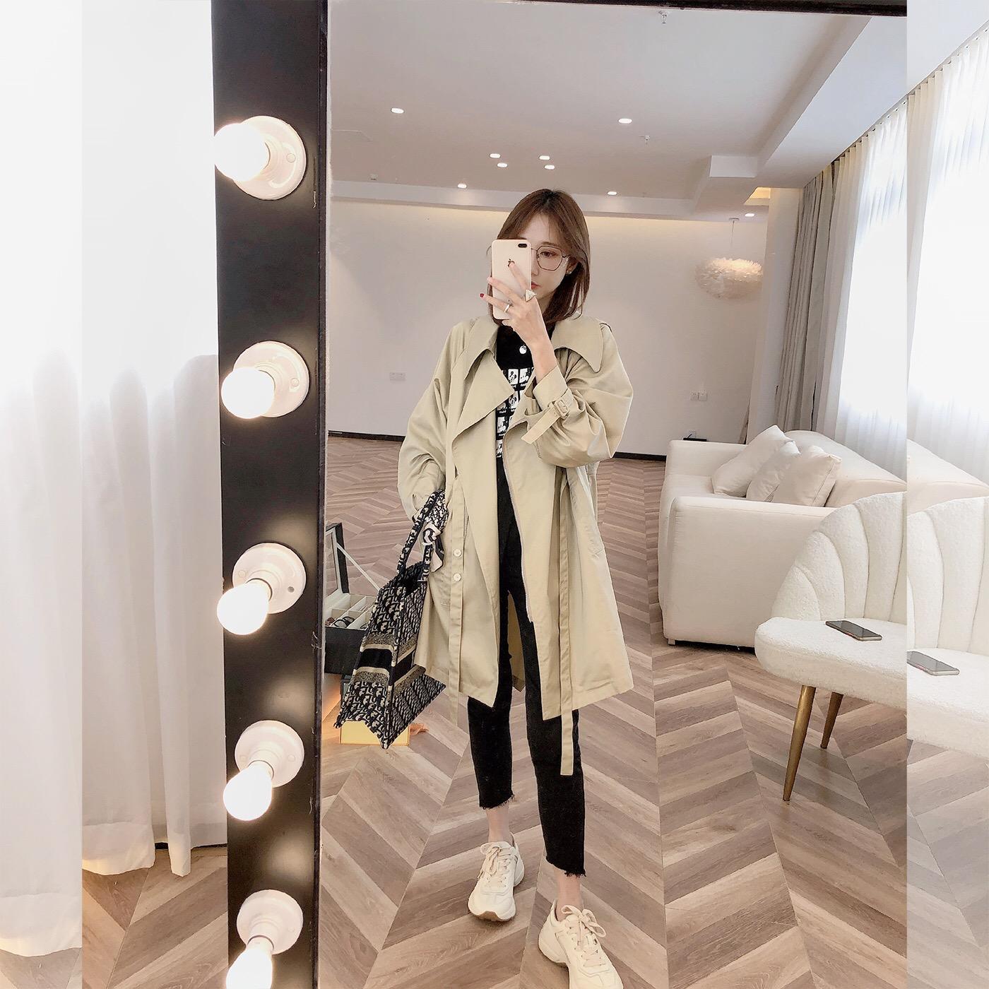 柒柒家 2020秋季新款韩版气质腰带风衣女宽松中长款流行百搭外套-乐多多-
