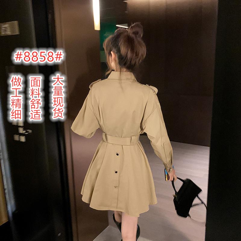 卡其色小个子风衣女中长款气质2020新款流行翻领长袖显瘦秋装外套-靓品女装-