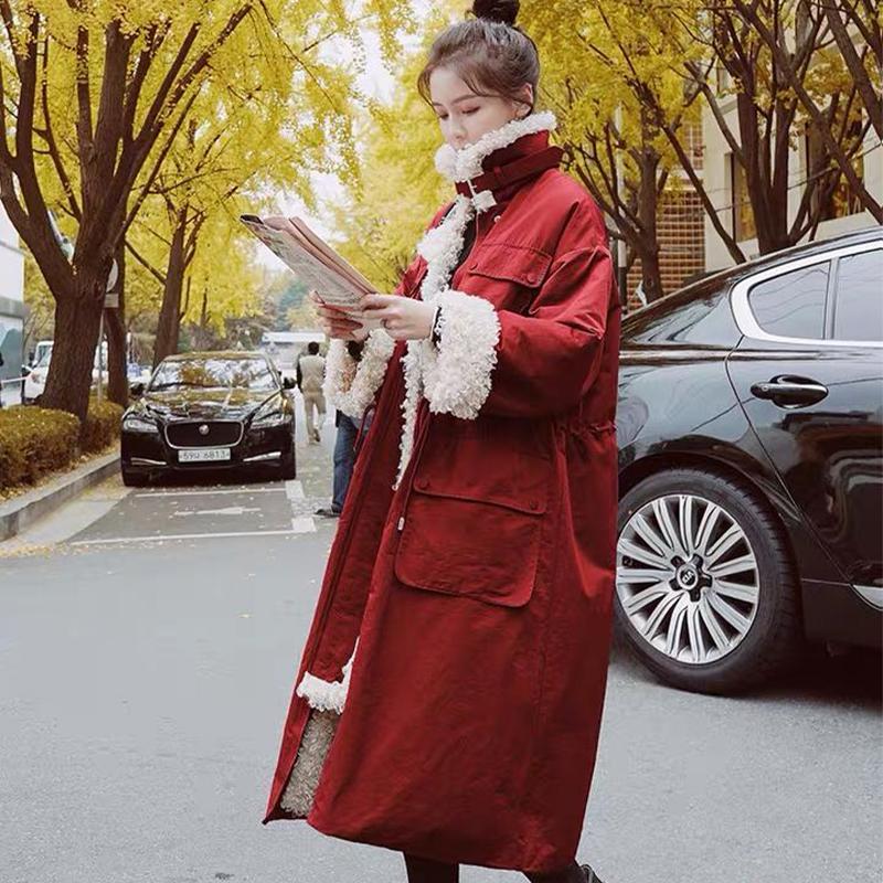 官网图 韩版羊羔毛派克羽绒棉服中长款过膝冬宽松收腰工装外套女-靓衣轩羽绒服-