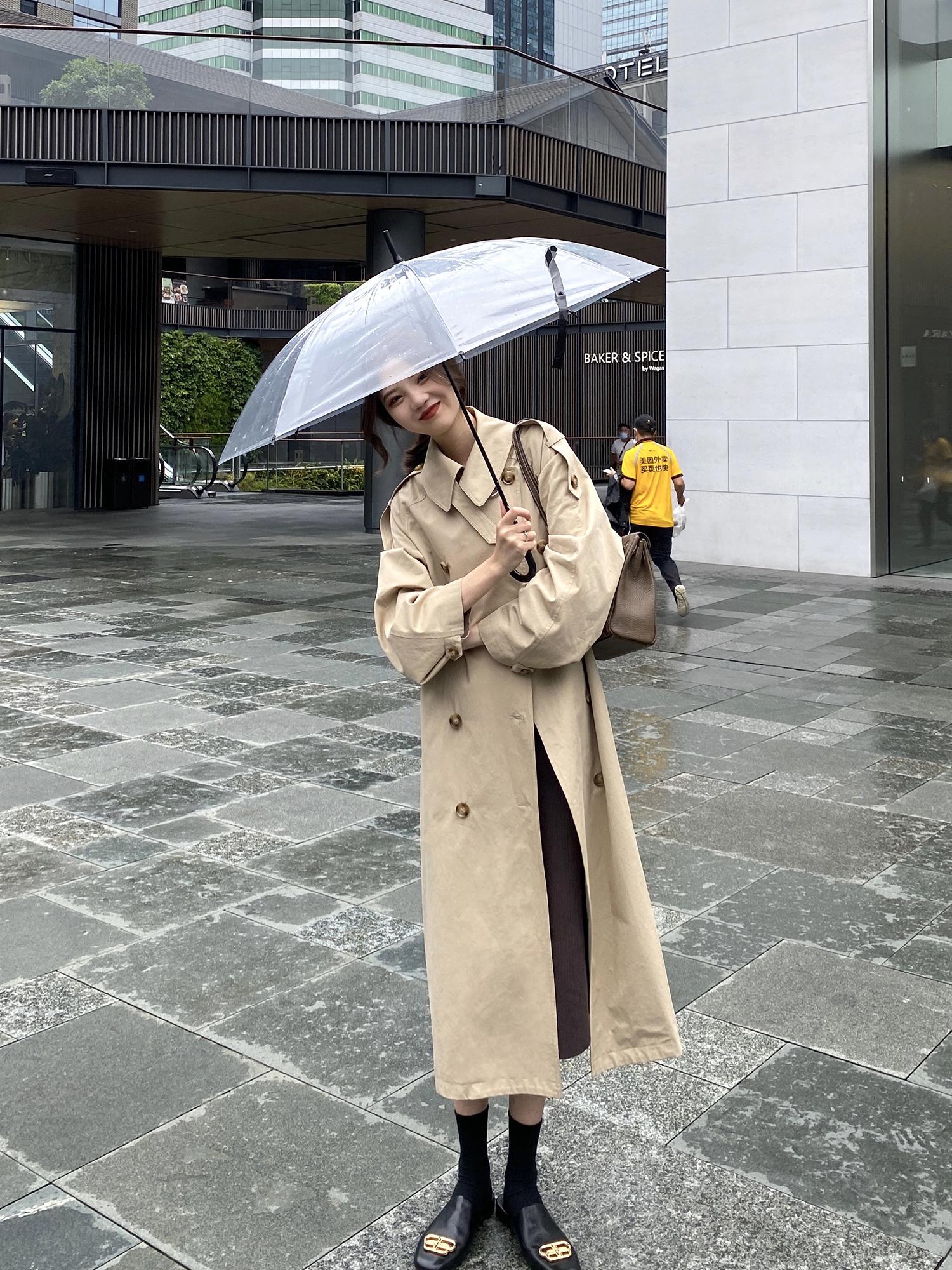 小玉酱巴黎香榭赫本风风衣女秋季2020宽松立领过膝气质外套-欧菲迪-