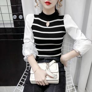YF25545# 实拍 早秋新款修身条纹针织衫拼接网纱七分灯笼袖上衣女