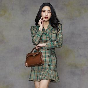 FS91708# 新款韩版OL气质双排扣修身荷叶边时尚包臀西装外套 服装批发女装直播货源