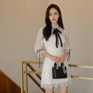 FS91707# 新款韩版时尚气质显瘦蕾丝流苏连衣裙两个色 服装批发女装直播货源