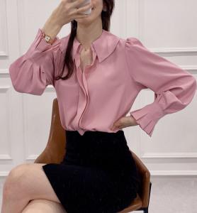 FS95598# 衬衫韩国爆款拼着雪纺衫 服装批发女装直播货源