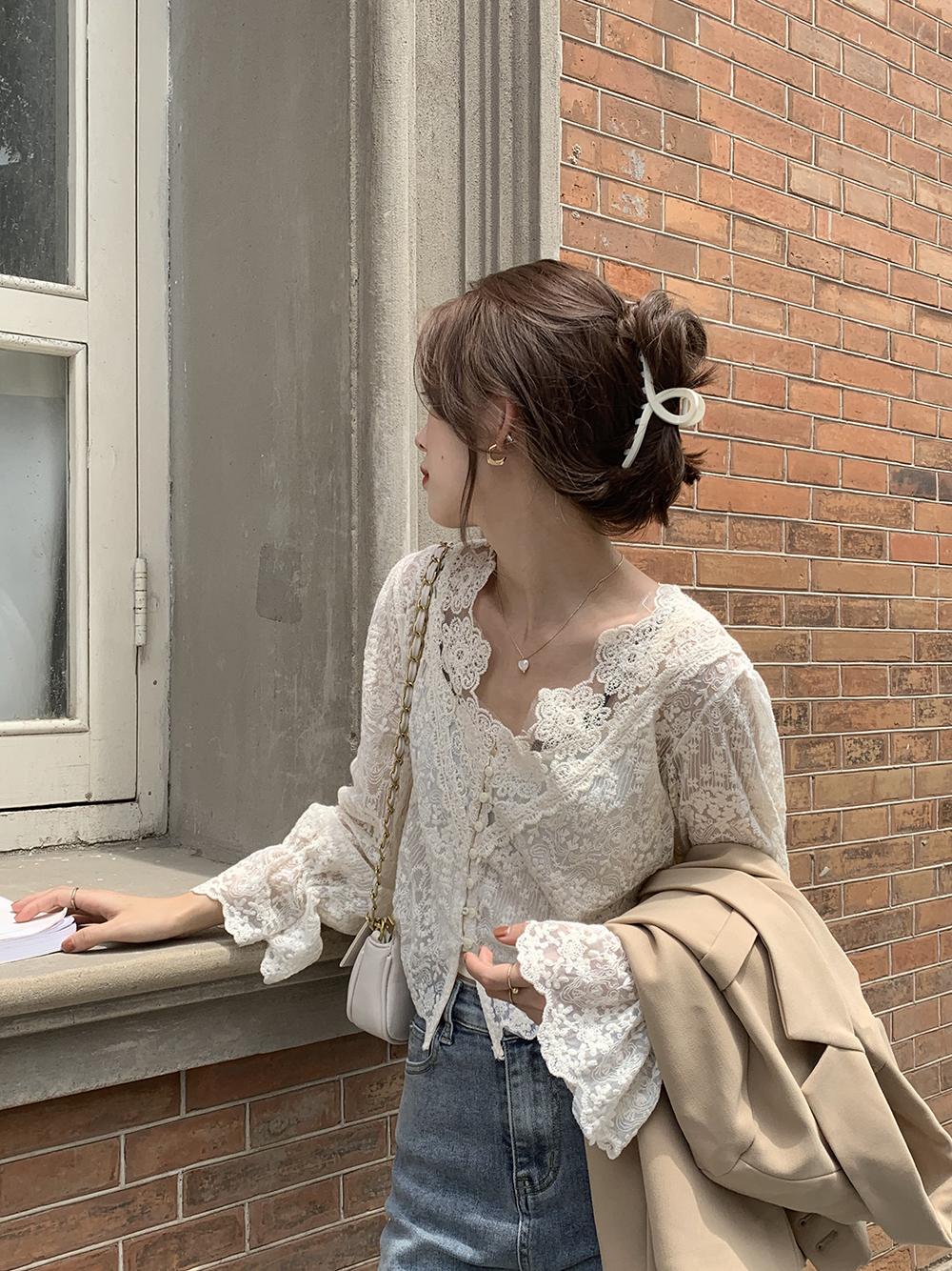 最小的海 韩版夏季新款时尚甜美优雅气质V领蕾丝钩花长袖衬衣女-Ammy INS 网红馆-