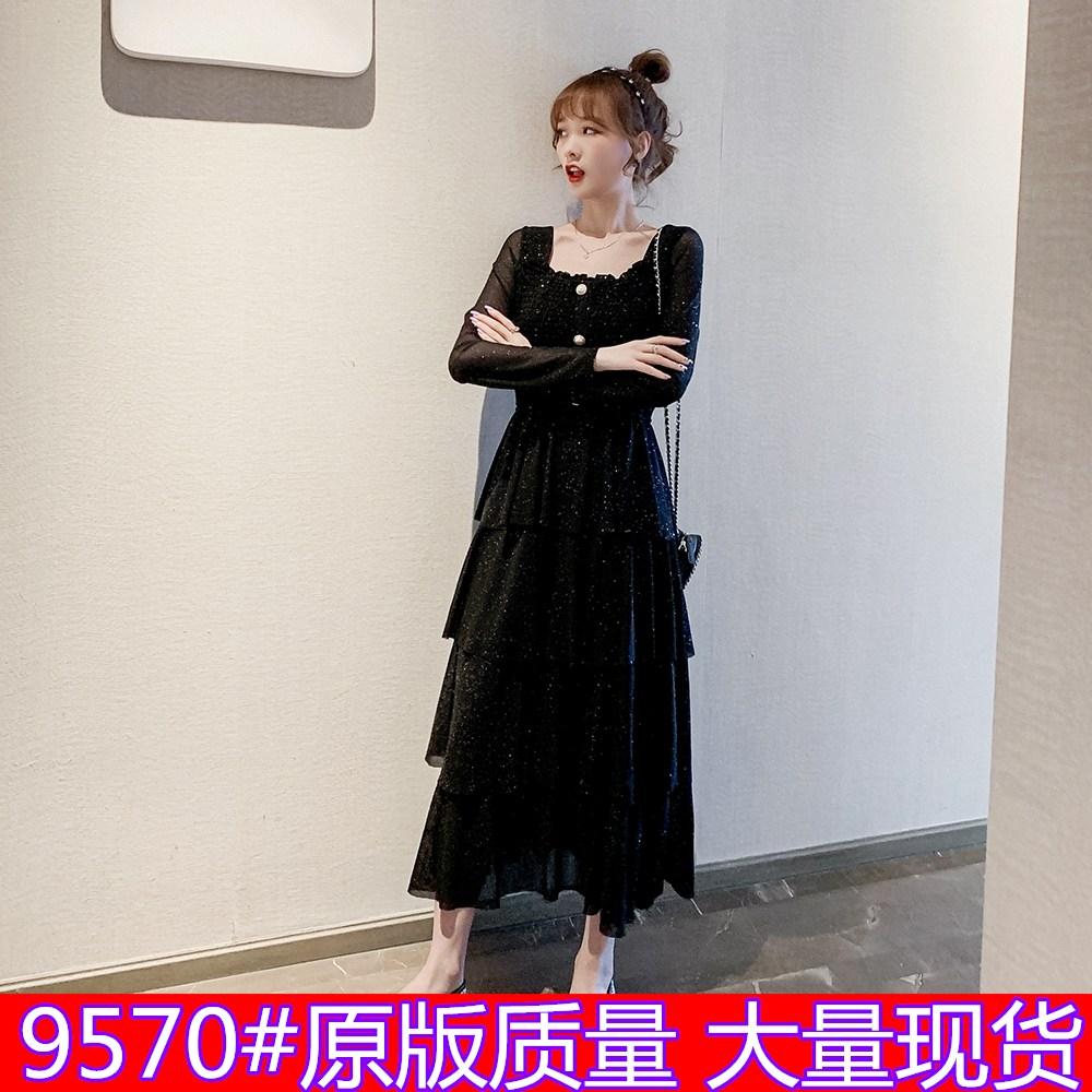 提前加购 8.25新品0点开抢法式复古亮闪闪连衣裙显瘦气质裙子-妃琳服饰-
