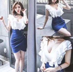 FS92499# 夏韩版新款女装修身拼接荷叶边V领不规则短裙时尚连衣裙 服装批发女装直播货源