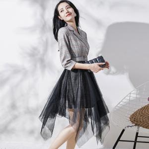FS94416# 英伦风时尚女装中长裙子秋装新款收腰显瘦假两件拼接连衣裙女 服装批发女装直播货源
