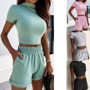 YF67585# 热卖欧美新款夏季纯色紧身性感时尚休闲套装女