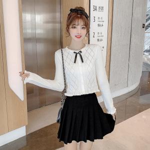 FS94444# 秋季新款蝴蝶结针织衫甜美感上衣薄款毛衣外套