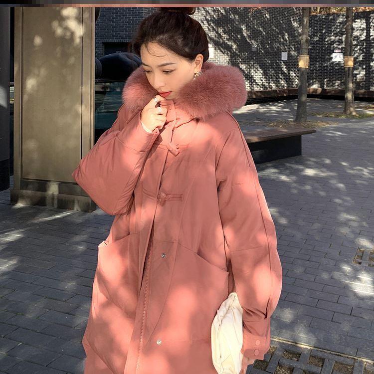 官网图2020新款韩版时尚牛角扣羽绒棉服中长款宽松加厚棉服外套女-千姿秀羽绒服-
