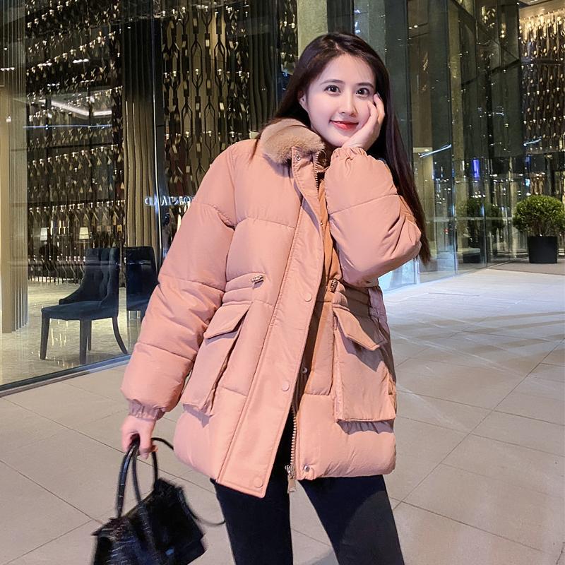 实拍韩系新款羽绒服棉服女装学生抽绳收腰网红风棉衣外套潮-千姿秀羽绒服-