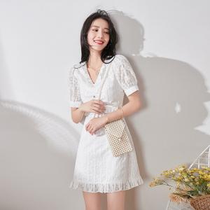 FS94417# 仙女超仙短袖连衣裙夏装新款气质V领时尚收腰显瘦白色裙子女 服装批发女装直播货源