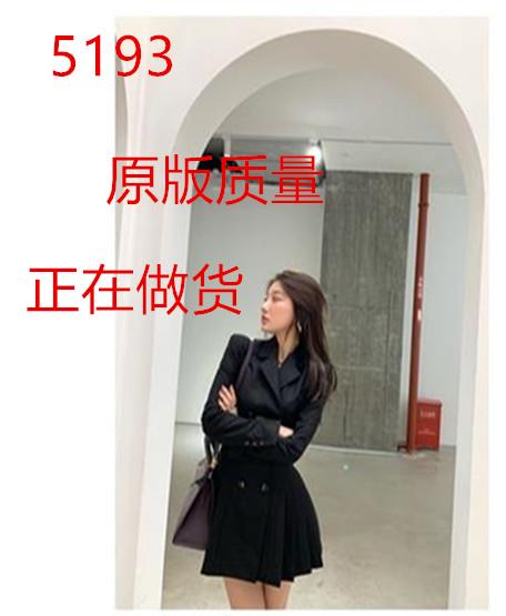 momoshero连衣裙女2020秋季新款沉睡魔咒黑色收腰显瘦百褶西装裙-乐嘉服饰-