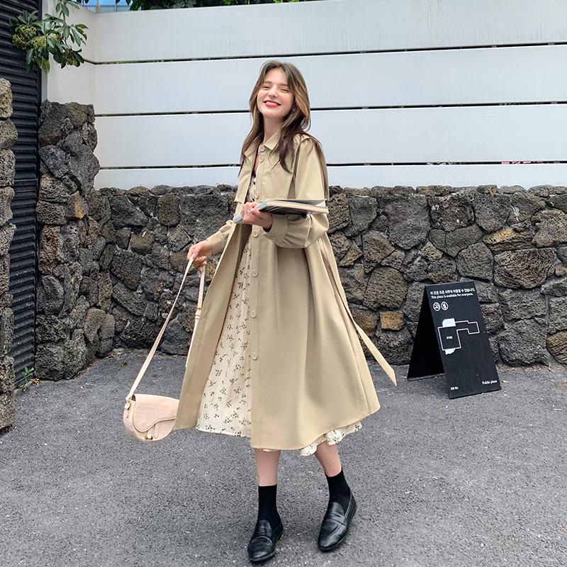 MG小象气质复古连衣裙秋装2020年新款女韩版宽松中长款风衣外套潮-青春密码D2-