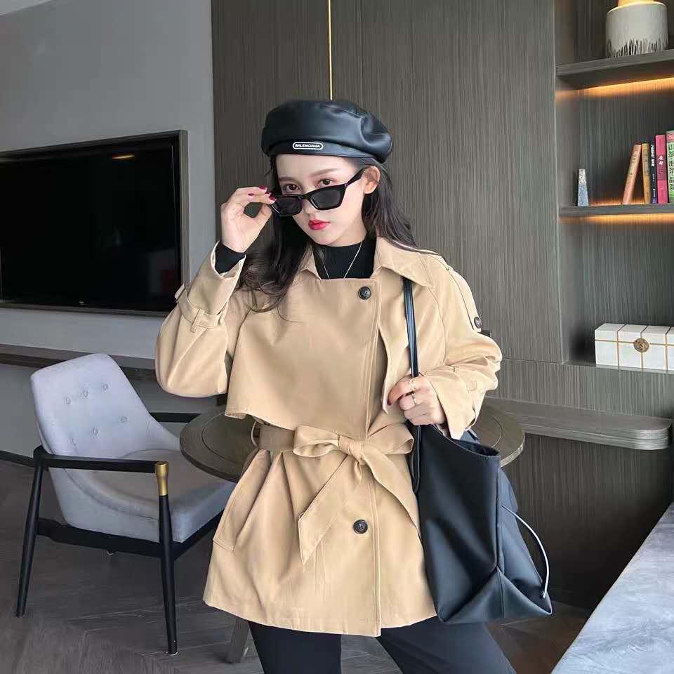2020新款中长系带双排扣薄款宽松气质流行外套-夏飞家网络女装-