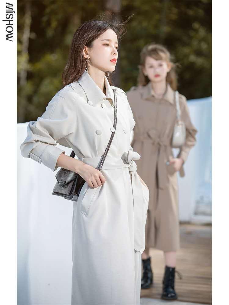 风衣女外套秋装2020年新款女中长款小个子收腰炸街上衣流行大衣潮-夏飞家网络女装-
