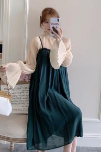 FS94222# 大码女装秋装连衣裙2件套上衣➕吊带裙子 服装批发女装直播货源