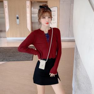 FS94442# 新款韩版宽松薄款设计感系带抽绳短款显瘦针织衫女