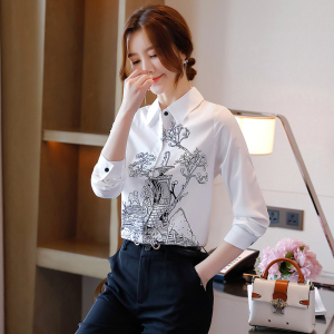 FS93959# 白色真丝衬衫女士长袖秋季新款时尚设计感小众印花上衣 服装批发女装直播货源