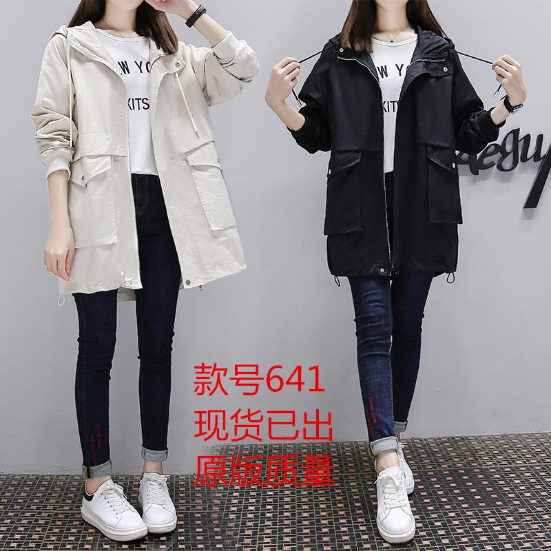 实拍风衣女中长款2020秋季新款小个子韩版宽松流行港风连帽外套-莉娉服饰-