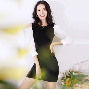 FS94420# 秋装新款潮流设计七分袖一步裙性感露肩时髦修身连衣裙女 服装批发女装直播货源