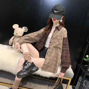 YF17125# 格子衬衫女长袖秋季新款上衣百搭大码设计感拼接时尚衬衣
