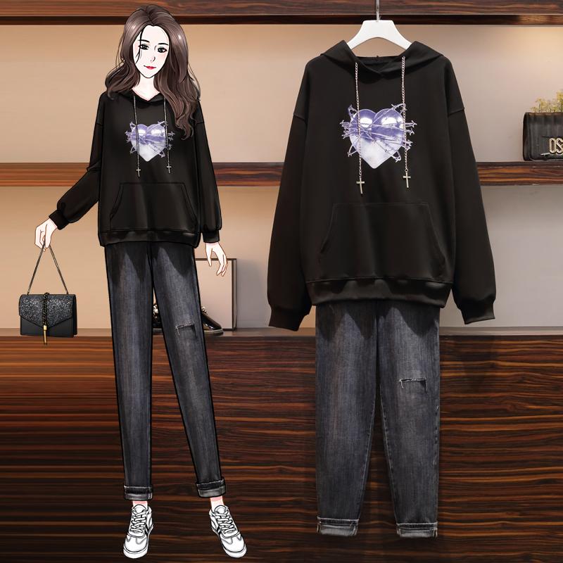 实拍现货2020秋冬新款加肥加大卫衣套装女胖妹妹韩版牛仔裤显瘦-DOLA金啦啦-