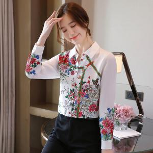 FS93965# 白色杭州真丝衬衫女设计感小众秋季新款印花长袖上衣潮 服装批发女装直播货源